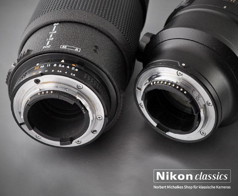AF-D-Nikkor und AF-S G Nikkor. Beachten Sie den fehlenden Blendenring!