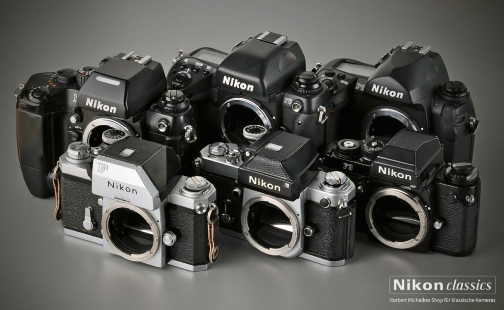 Familienfoto: Nikon F (1959) bis F6 (2004)